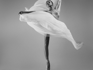 Ballerina with a white flying cloth