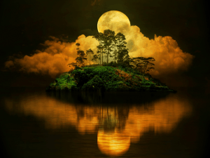 Moon on the small island
