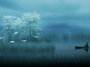 A fisherman in a dream landscape