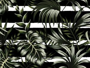 Tropical dark green leaves seamless pattern