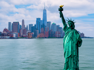 The Statue of Liberty with One World Trade Center