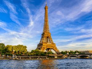 Paris Eiffel Tower and river Seine at sunset in Paris