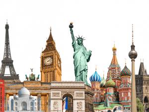World landmarks photo collage isolated