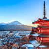 Landmark of japan Chureito red Pagoda and Mt