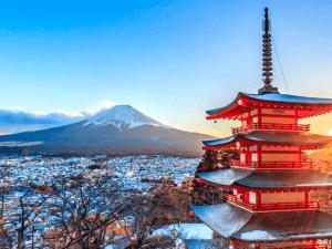 Landmark of japan Chureito red Pagoda and Mt