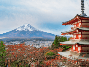 Mount Fuji and Chureito Pagoda at sunrise in autumn