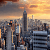 New York skyline at sunset, USA