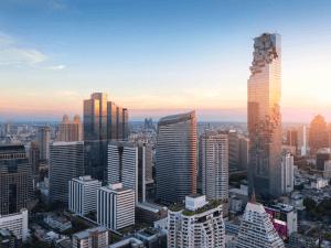 Aerial view of Bangkok modern office