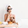 Portrait of a celebrity woman in sunglasses