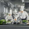 Famous Chef Works in a Big Restaurant Kitchen