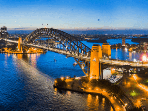 Dark Sydney city CBD landmarks around Sydney Harbour