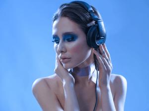 DJ girl. Girl with headphones
