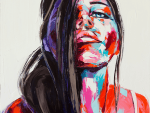 A colorful oil portrait of a fictional character