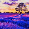 Original oil painting on canvas. Lavender landscape