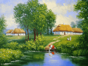 Ukrainian landscape, river, oil paintings